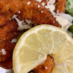 Breaded calamari strips, parmesan, lemon, with marinara