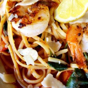 Linguine, spicy reduced marinara sauce, shrimp, spinach, diced tomato with parmesan cheese